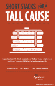Short Stacks for a Tall Cause (JAX IAD Chapter Fundraiser) @ Applebees | Jacksonville | Illinois | United States