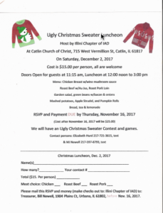 Ugly Christmas Sweater Luncheon Hosted by Illini Chapter @ Catlin Church of Christ | Cayuga | Indiana | United States